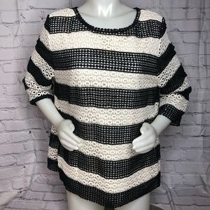 Talbots NWT black & white lace/crochet pattern top